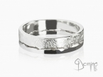Double rings Scratched/ Polished White gold 18 kt