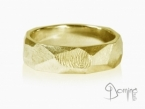 Sfaccettato with fingerprint ring Yellow gold 18 kt