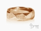 Sfaccettato with fingerprint ring Red gold 18 kt