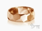 Sfaccettato satin ring Red gold 18 kt
