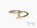 Open ring with diamond White and yellow gold 18 kt