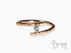 Open ring with diamond White and red gold 18 kt