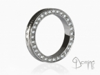 Conca ring with diamonds White gold 18 kt
