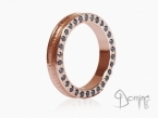 Conca ring with black diamonds on the edge Red gold 18 kt