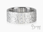 Corteccia ring with diamonds White gold 18 kt