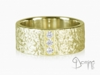 Corteccia ring with diamonds Yellow gold 18 kt