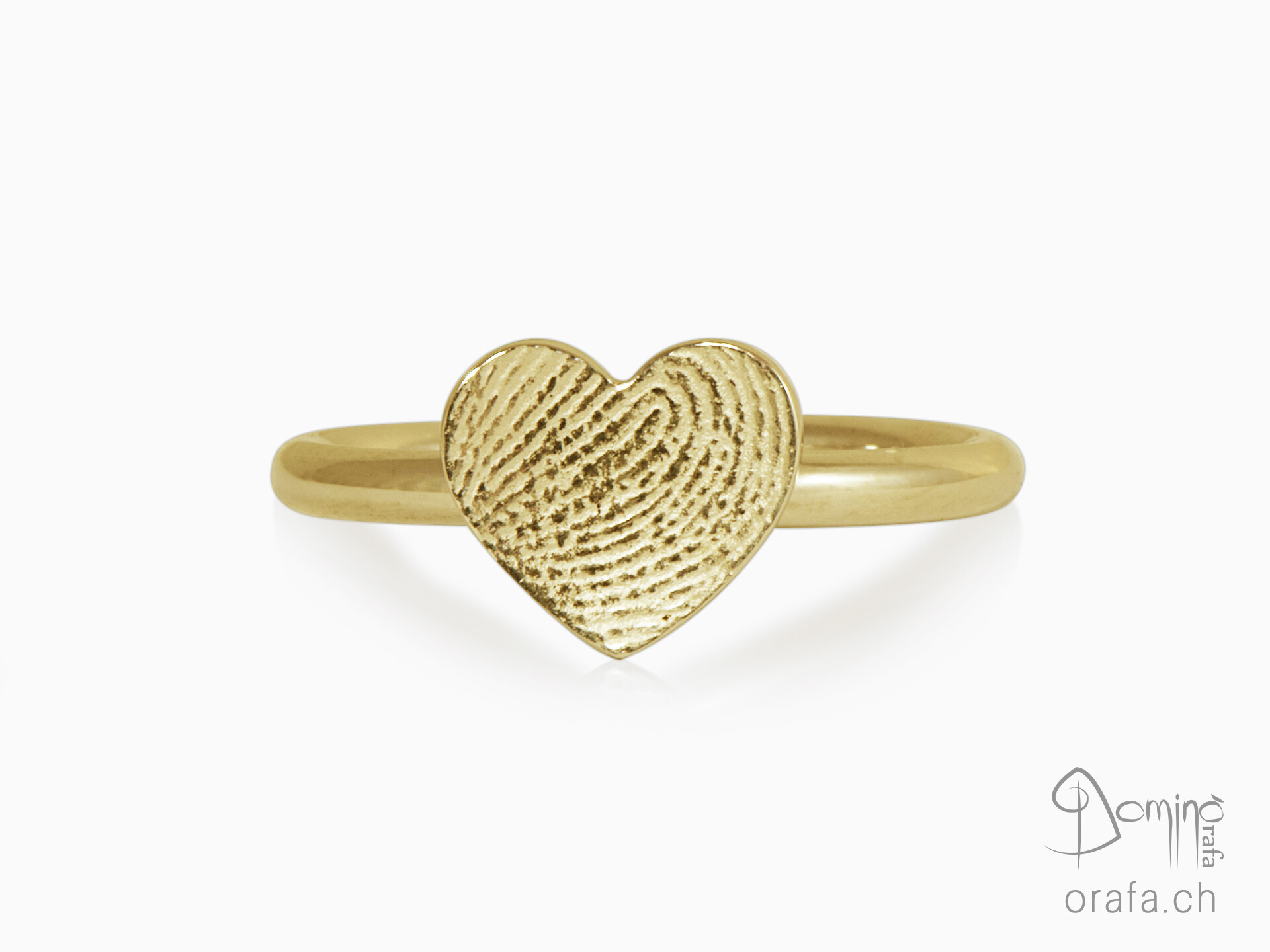 Hearts ring with fingerprint