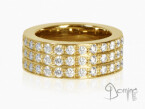 Diamonds ring 3 rows Yellow gold 18 kt