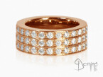 Diamonds ring 3 rows Red gold 18 kt
