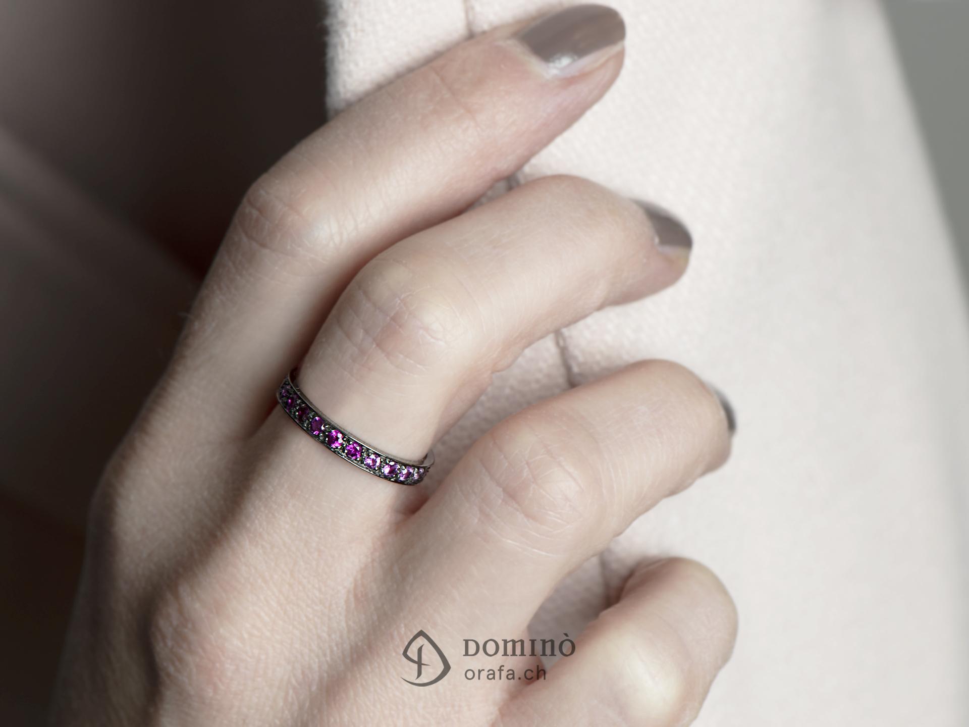 Anello di diamanti e zaffiri rosa 2