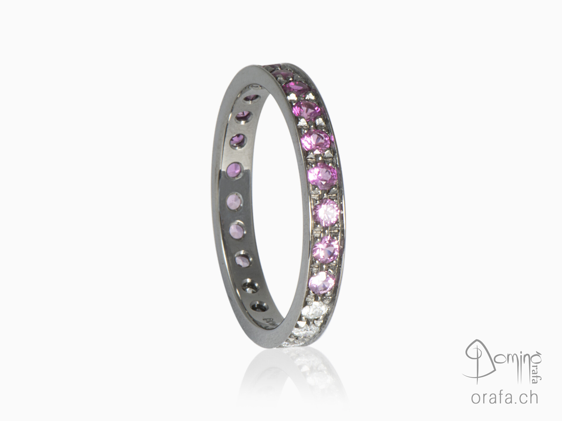 Diamonds and pink sapphires ring black rhodium