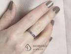 Diamonds and pink sapphires ring black rhodium