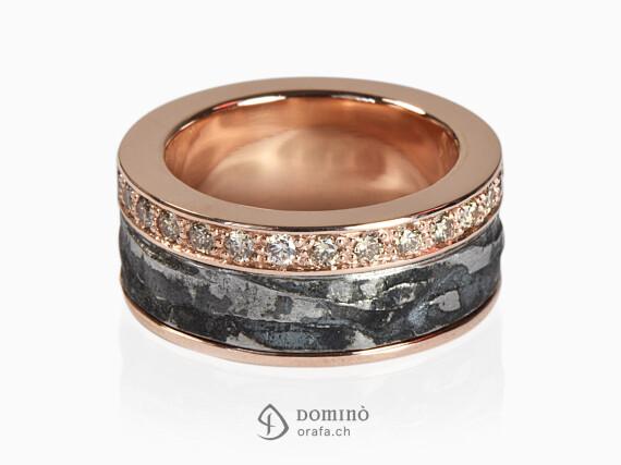 anello-ferro-metallo-prezioso-diamanti-incolore-sfumati-brown-oro-rosso