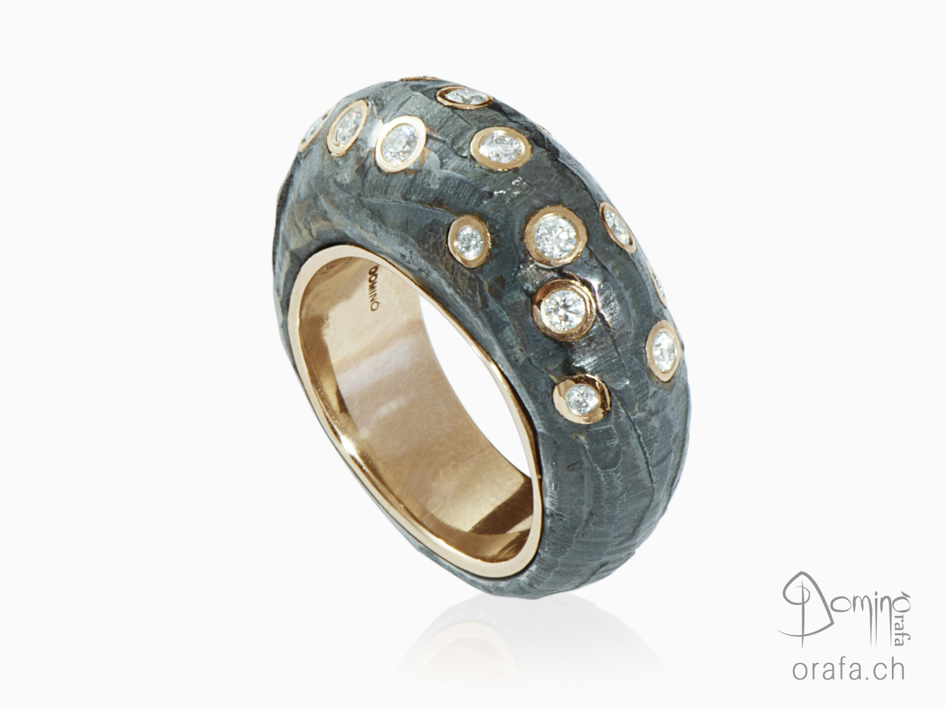 High Precious iron ring with diamonds