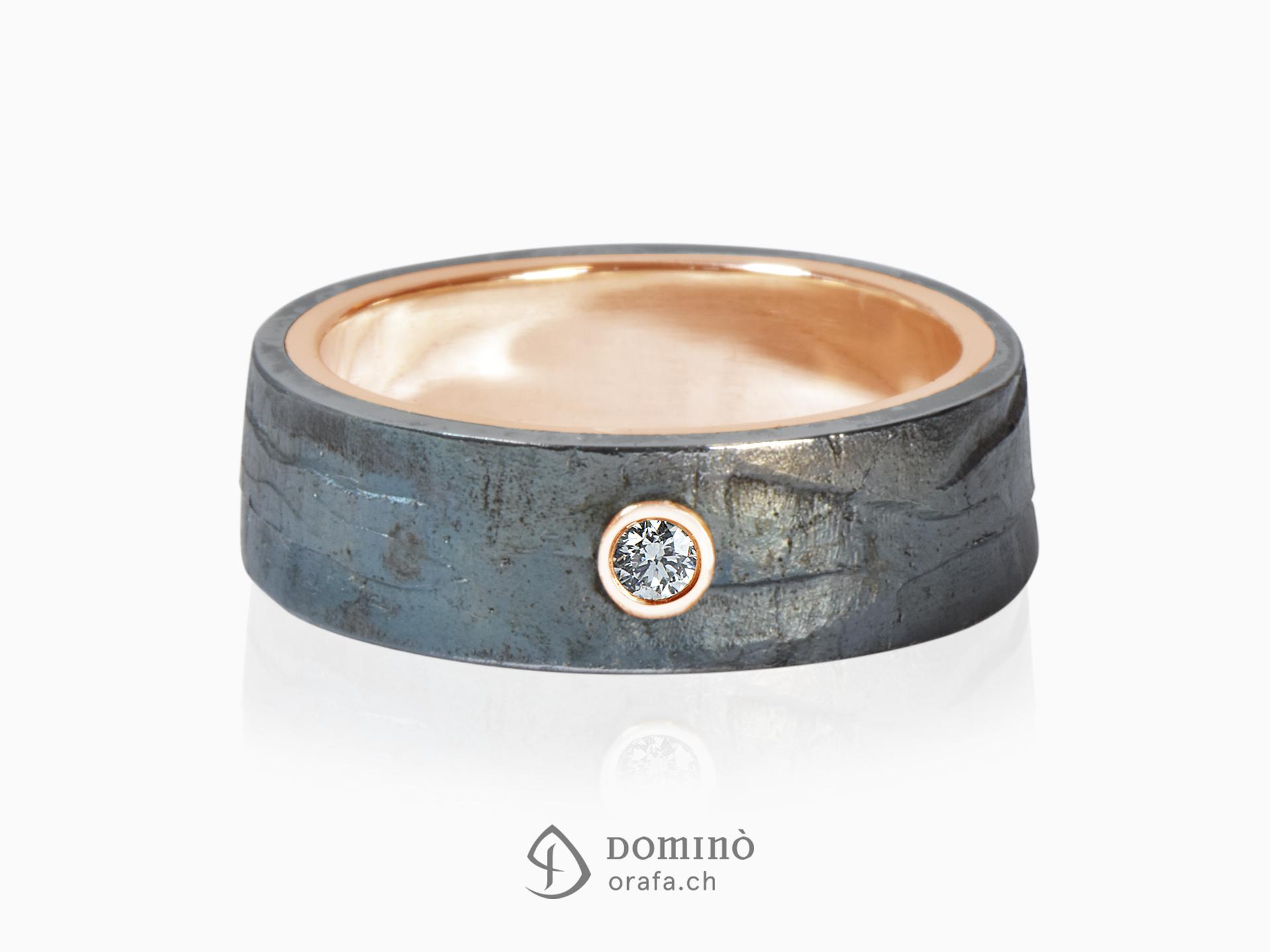 anello-ferro-prezioso-diamante-0,03ct-oro-rosso