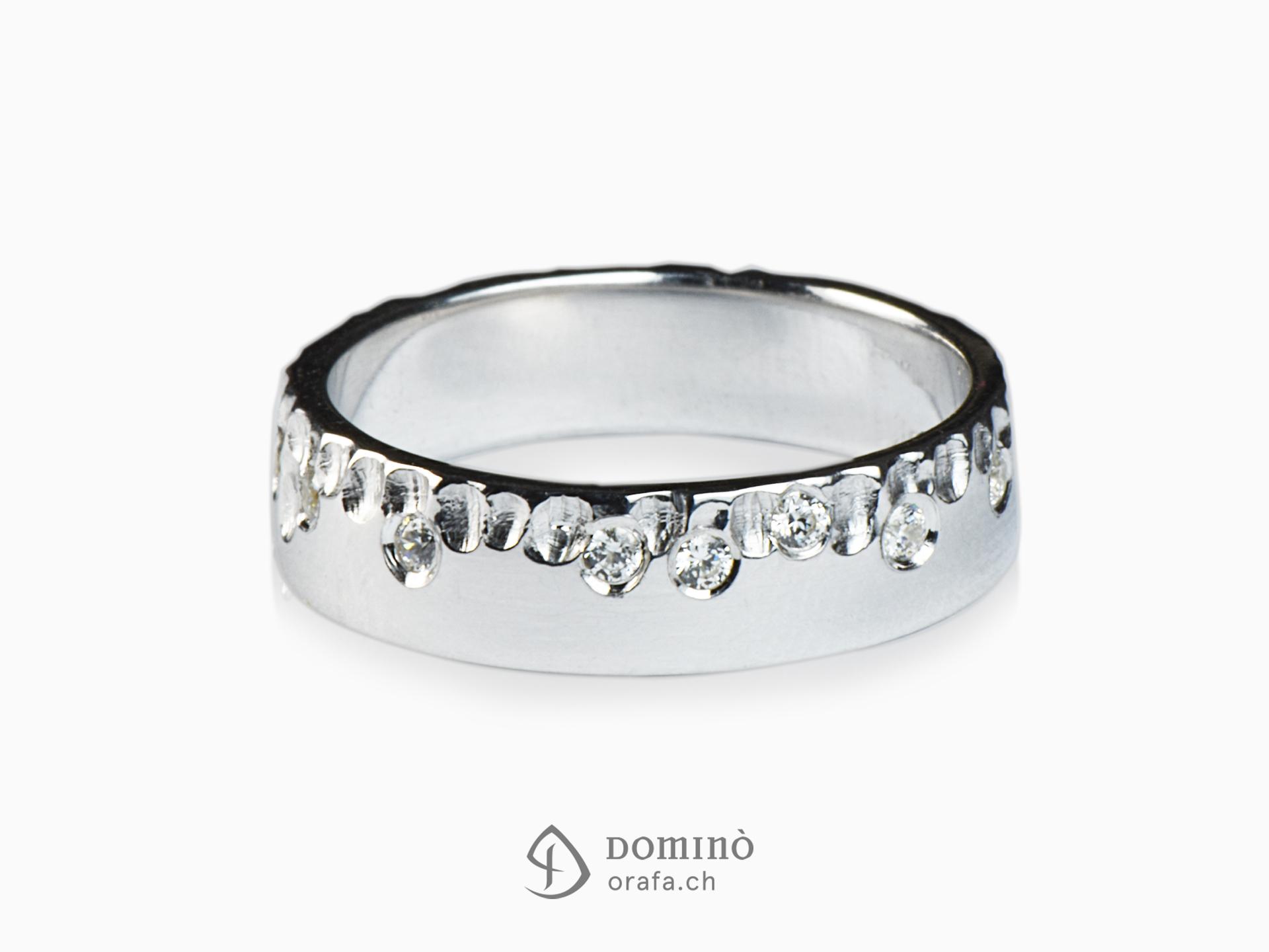 Anello Gocce/lucido con diamanti