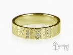 Vertical Work ring with diamonds Yellow gold 18 kt