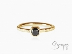 Black diamond ring Yellow gold 18 kt