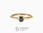 Black diamond ring Yellow gold 18 kt