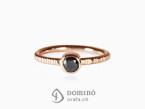 Black diamond ring Red gold 18 kt