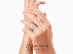 Crossed Linee ring with diamonds
