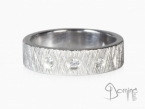 Crossed Linee ring with diamonds White gold 18 kt