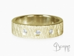 Crossed Linee ring with diamonds Yellow gold 18 kt