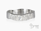 Crossed Linee ring with diamond White gold 18 kt
