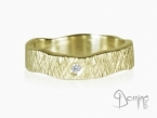 Crossed Linee ring with diamond Yellow gold 18 kt