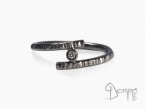 Black rhodiated ring with diamond White gold 18 kt black rh