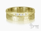 Sentiero/ polished ring with diamonds Yellow gold 18 kt