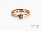 Black diamond ring Red gold 18 kt