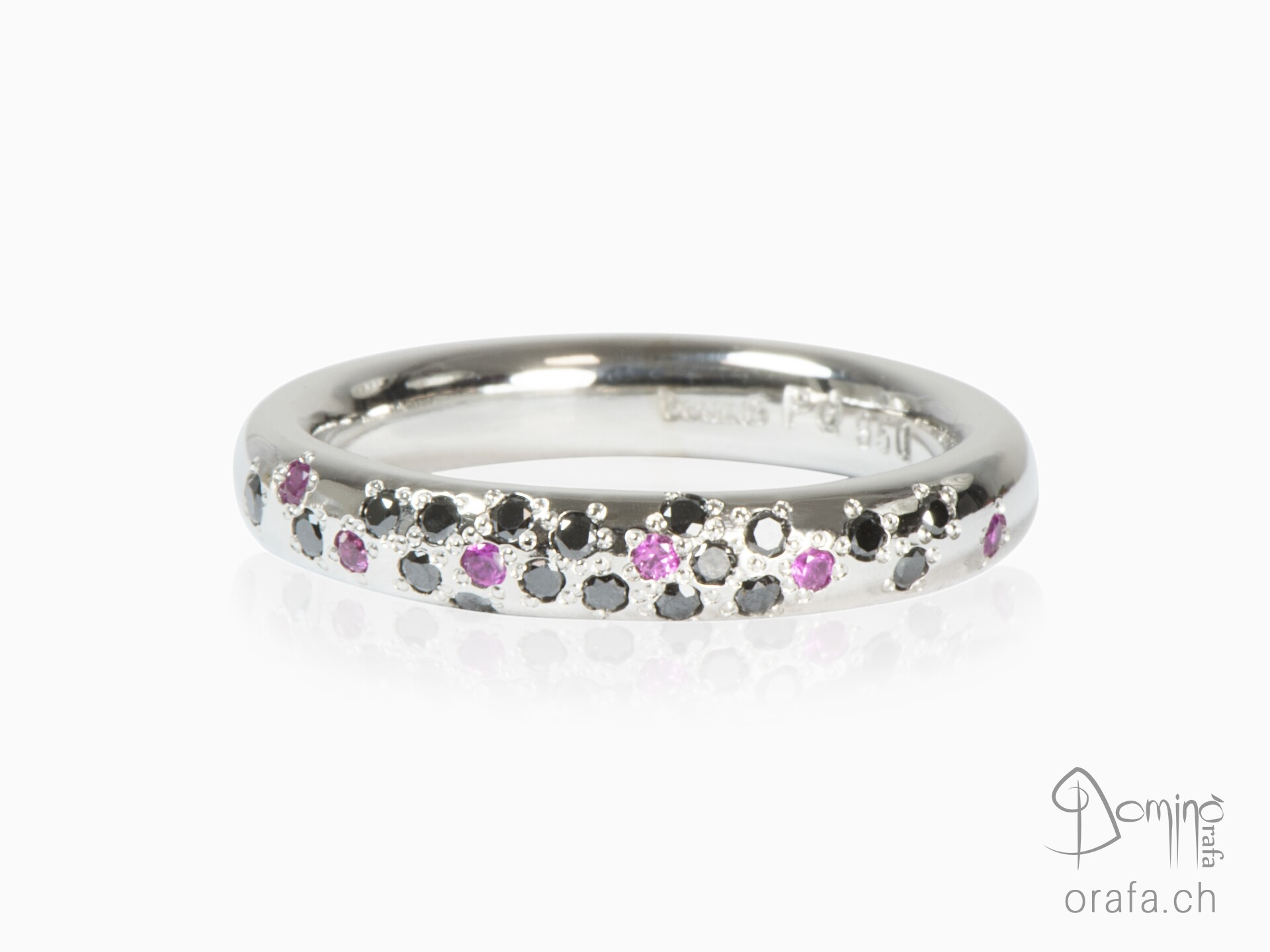 Black diamonds and pink sapphires ring