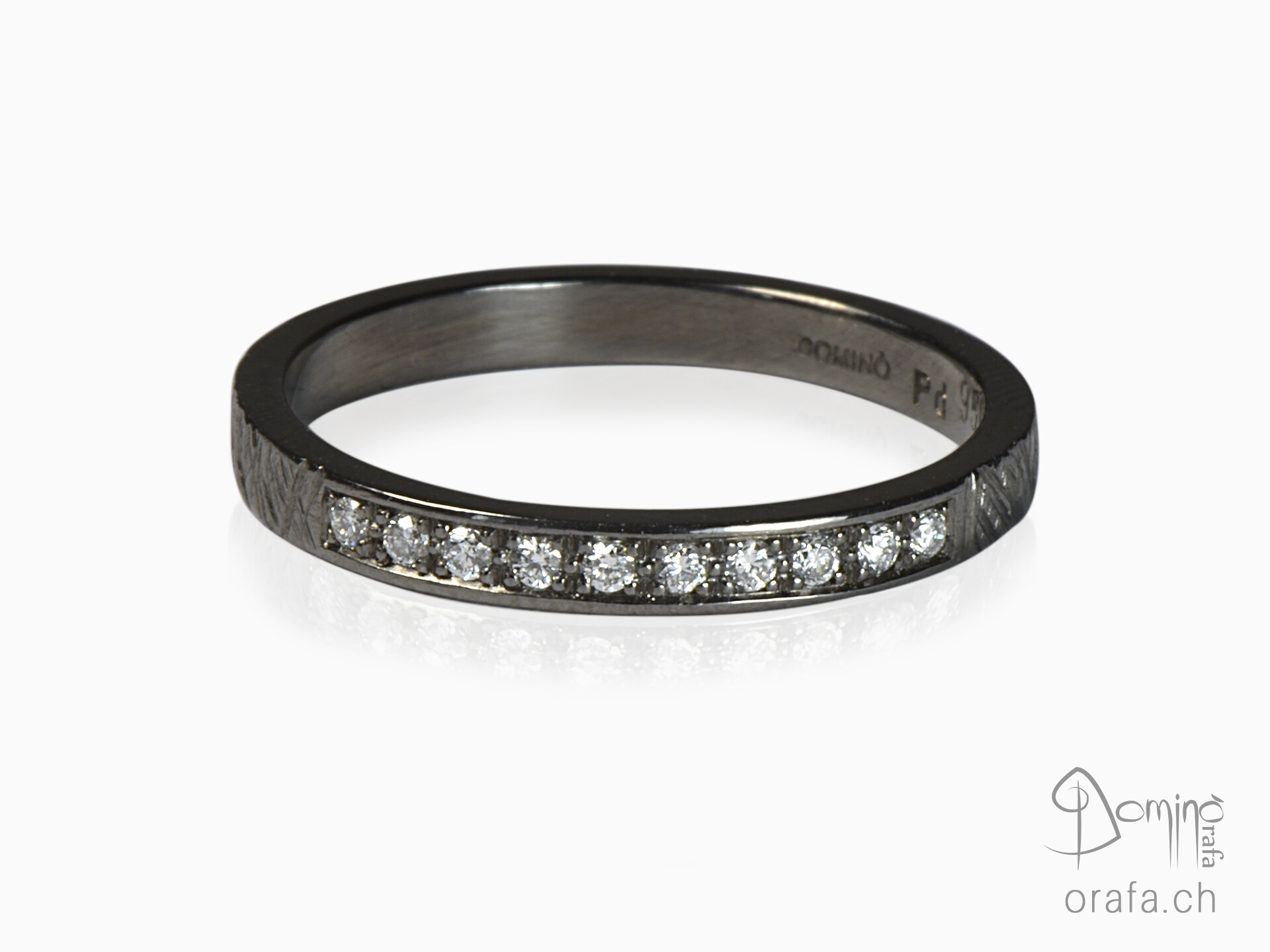 Black rhodiated ring with diamonds