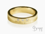 Irregular Sabbia/polished ring with 3 diamonds Yellow gold 18 kt