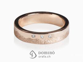 anello-sabbiato-lucido-irregolare-3-diamanti-oro-rosso