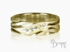 Polished Solchi rings satin finish and diamonds Yellow gold 18 kt