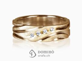 anello-satinato-solchi-lucidi-4-diamanti-oro-rosso