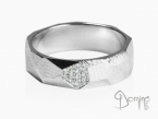 Sfaccettato ring with diamonds White gold 18 kt