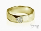 Sfaccettato ring with diamonds Yellow gold 18 kt