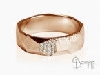 Sfaccettato ring with diamonds Red gold 18 kt
