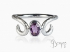 White gold ring with pink sapphire White gold 18 kt