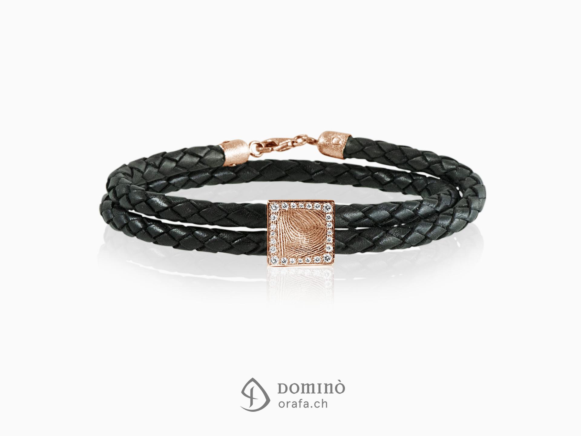 Leather bracelet with fingerprint and diamonds