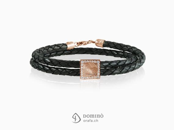 braccialetto-cuoio-impronta-digitale-quadrata-contorno-diamanti-oro-rosso