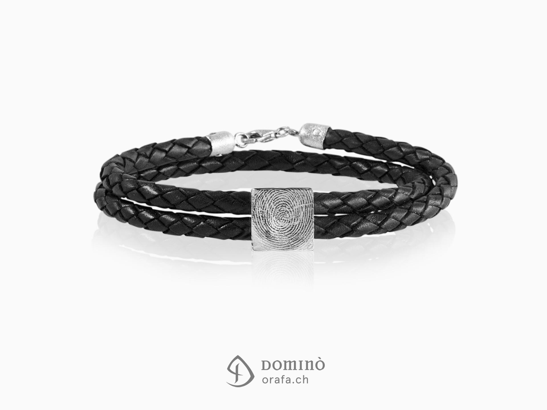 braccialetto-cuoio-impronta-digitale-quadrata-argento