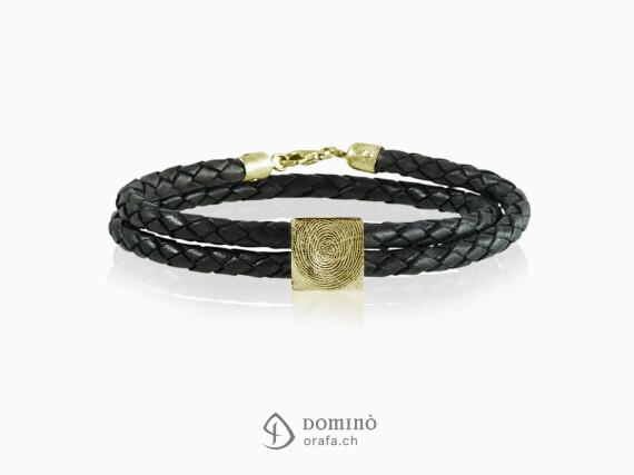 braccialetto-cuoio-impronta-digitale-quadrata-oro-giallo