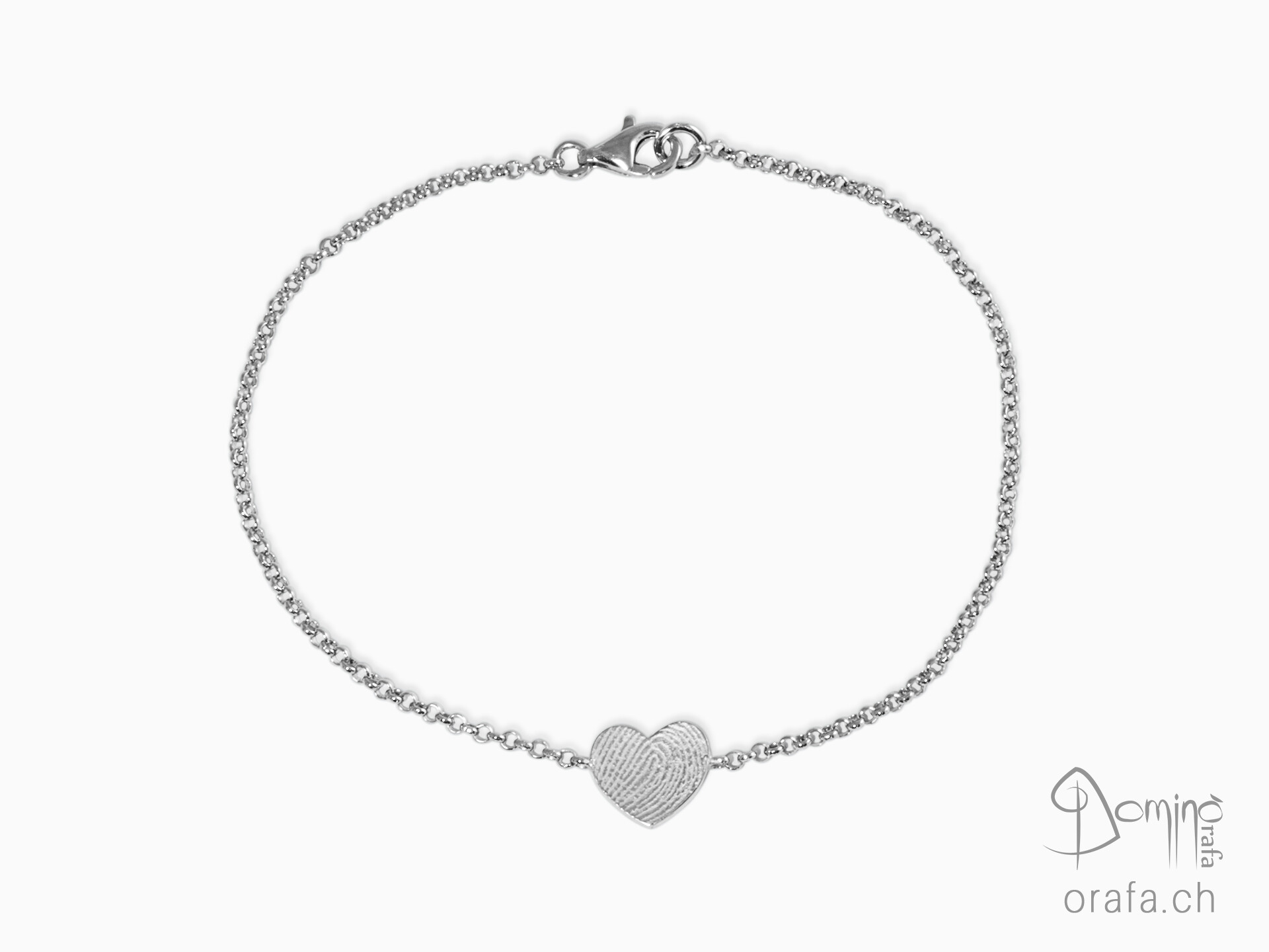 Heart bracelet with fingerprint