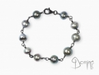 Tahitian pearl bracelet and oxidized silver 925 oxidized silver