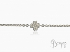 Four leaf clover bracelet with diamonds White gold 18 kt
