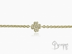 Four leaf clover bracelet with diamonds Yellow gold 18 kt